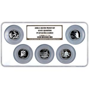 2008 S Silver 5pc Proof Set State Quarters PF69 UC NGC