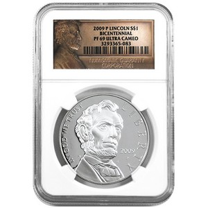 2009 P Lincoln Bicentennial Silver Dollar PF69 UC NGC Lincoln Label