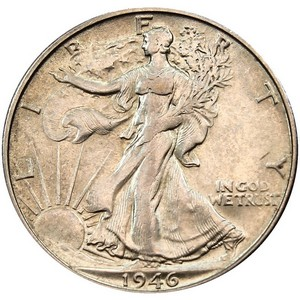 1946 D Silver Walking Liberty Half Dollar F/VF