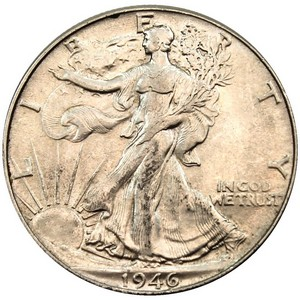 1946 Silver Walking Liberty Half Dollar F/VF