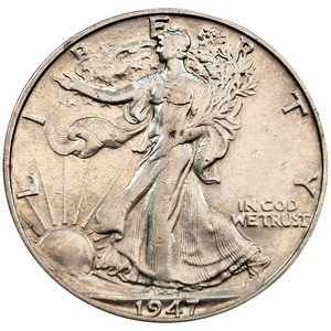 1947 D Silver Walking Liberty Half Dollar F/VF