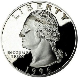 1996 S Silver Washington Quarter PF