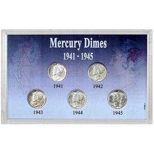 5 Piece Mercury Dime Set 1941-1945
