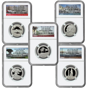 2013 S America the Beautiful Silver Quarters PF70 UC ER NGC 5 Coin Set