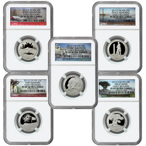 2013 S America the Beautiful Silver Quarters PF69 UC ER NGC 5 Coin Set