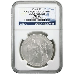 2014 P Civil Rights Act of 1964 Silver Dollar MS69 ER NGC Blue Label