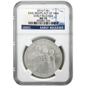 2014 P Civil Rights Act of 1964 Silver Dollar MS70 ER NGC Blue Label