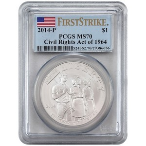 2014 P Civil Rights Act of 1964 Silver Dollar MS70 FS PCGS Flag Label