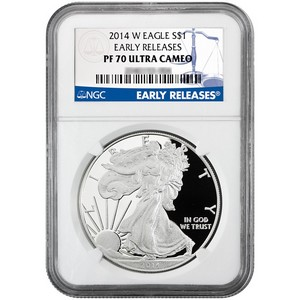 2014 W Silver American Eagle PF70 UC ER NGC Blue Label