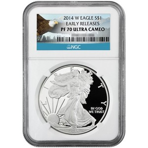 2014 W Silver American Eagle PF70 UC ER NGC Bald Eagle Label