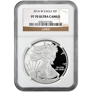 2014 W Silver American Eagle PF70 UC NGC Brown Label