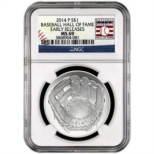 2014 P Baseball Hall of Fame Silver Dollar MS69 ER NGC Hall of Fame Label