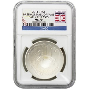2014 P Baseball Hall of Fame Silver Dollar MS70 ER NGC Hall of Fame Label