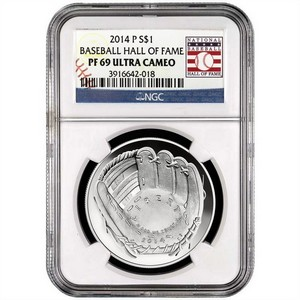 2014 P Baseball Hall of Fame Silver Dollar PF69 UC NGC Hall of Fame Label