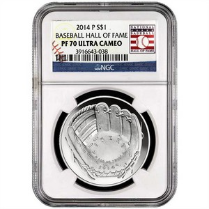 2014 P Baseball Hall of Fame Silver Dollar PF70 UC NGC Hall of Fame Label