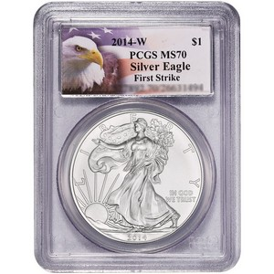 2014 W Silver American Eagle MS70 Burnished FS PCGS Eagle Label