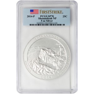 2014 P America the Beautiful Silver 5oz Shenandoah SP70 FS PCGS