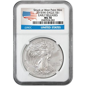 2015(W) Silver American Eagle Struck at WP MS70 ER NGC Country Label