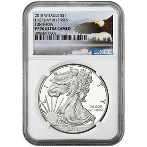 2015 W Silver American Eagle PF70 UC First Day Releases NGC Fun Show Bald Eagle Label