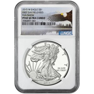 2015 W Silver American Eagle PF69 UC First Day Releases NGC Fun Show Bald Eagle Label