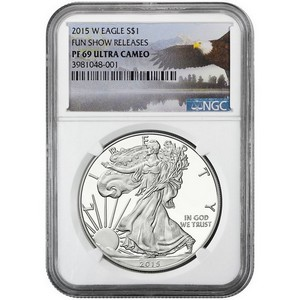 2015 W Silver American Eagle PF69 UC NGC Fun Show Releases Bald Eagle Label