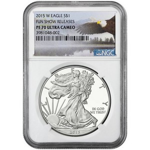 2015 W Silver American Eagle PF70 UC NGC Fun Show Releases Bald Eagle Label
