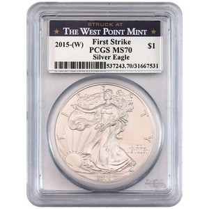 2015(W) Silver American Eagle Struck at WP MS70 FS PCGS Blue WP Label