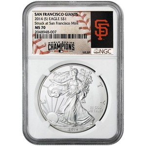 2014 S Silver American Eagle Struck at SF MS70 NGC MLB World Series Champions San Francisco Giants Label