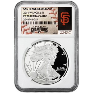2014 W Silver American Eagle PF70 UC NGC MLB World Series Champions San Francisco Giants Label
