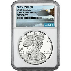 2015 W Silver American Eagle PF69 UC ER NGC Bald Eagle Label