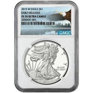2015 W Silver American Eagle PF70 UC ER NGC Bald Eagle Label