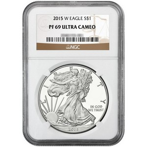 2015 W Silver American Eagle PF69 UC NGC Brown Label