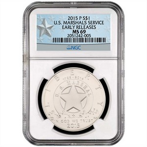 2015 P United States Marshals 225th Anniversary Silver Dollar MS69 ER NGC White Star Label