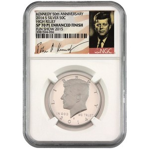 2014 S Kennedy 50th Anniversary Silver Half Dollar HR SP70 PL Enhanced Finish NGC Fun Show 2015 Label