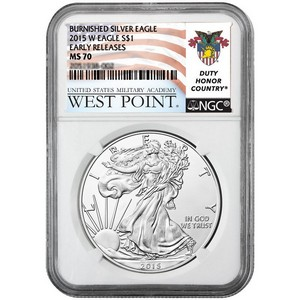 2015 W Silver American Eagle MS70 Burnished ER NGC West Point USMA Label
