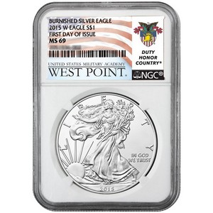 2015 W Silver American Eagle MS69 Burnished FDI NGC West Point USMA Label