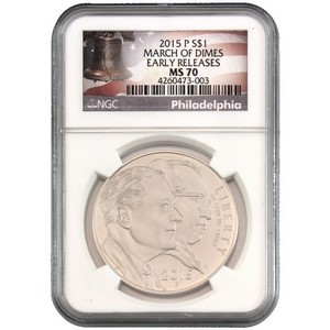 2015 P March of Dimes Silver Dollar MS70 ER NGC Bell Label