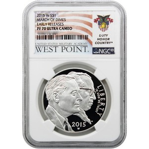 2015 W March of Dimes Silver Dollar PF70 UC ER NGC West Point USMA Label