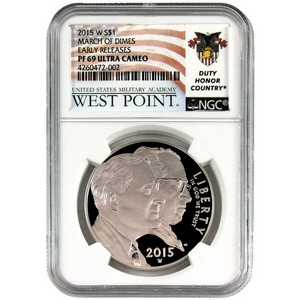 2015 W March of Dimes Silver Dollar PF69 UC ER NGC West Point USMA Label