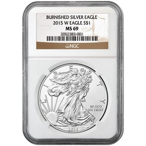2015 W Silver American Eagle MS69 Burnished NGC Brown Label
