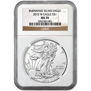 2015 W Silver American Eagle MS70 Burnished NGC Brown Label