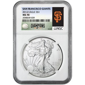2014 Silver American Eagle MS70 NGC MLB San Francisco Giants Label
