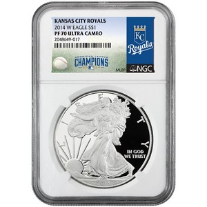 2014 Silver American Eagle PF70 UC NGC MLB Kansas City Royals Label