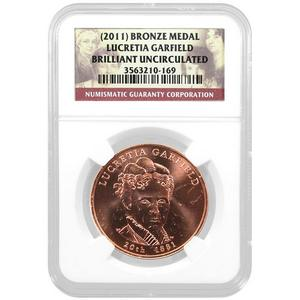 2011 First Spouse Lucretia Garfield Bronze BU NGC