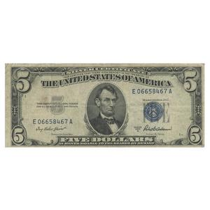 1953 $5 Silver Certificate Blue Seal Note