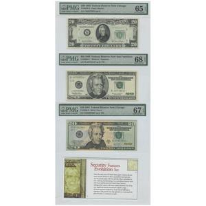 Security Features Evolution Set Federal Reserve Notes 20$ 1950 UNC65 1999 UNC68 2004 UNC67 PMG
