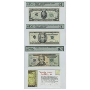 Security Features Evolution Set Federal Reserve Notes 20$ 1950 UNC66 1999 UNC68 2004 UNC67 PMG