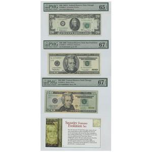Security Features Evolution Set Federal Reserve Notes 20$ 1963A UNC65 1999 UNC67 2004 UN67 PMG