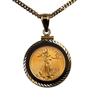 Gold American Eagle One Tenth Ounce BU Date Our Choice in Black Onyx Pendant with 20 Inch 14K Gold Rope Chain