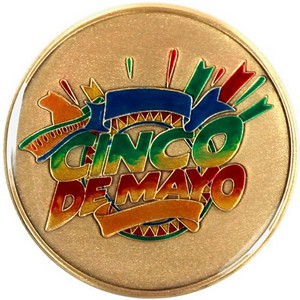 Cinco De Mayo Bronze Medallion Enameled